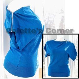 Aqua Blue Slik Zipper Short Sleeve Sweater